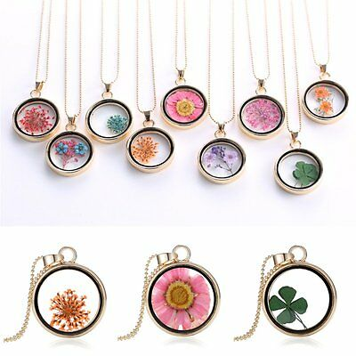 - New Natural Real Dried Flower Resin Round Glass Floating Locket Pendant Necklace