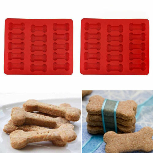 15 Cavity Silicone Dog Bone Baking Pan Mold Ice Tray Treat