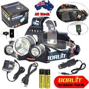 BORUIT 30W 13000LM 3X XM-L2 LED Headlamp Head Light Torch USB Lamp+18650+Charger