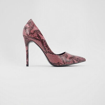 Snake Print Pointy Toe Slip On Stiletto Heeled Pumps Size 5.5-10 -
