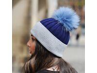 DAYMISFURRY--Grey And Blue Wool Beanie Hat With Raccoon Fur Pom Pom