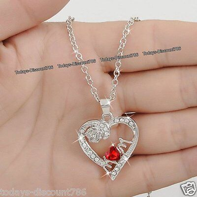 Special Silver MUM Necklace Red Heart Crystal Xmas Gift For Her Mother Daughter ()