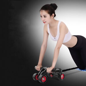 Four Wheeles Abdominal Power Wheel Exercise Abs Roller Home Gym Fitness Training