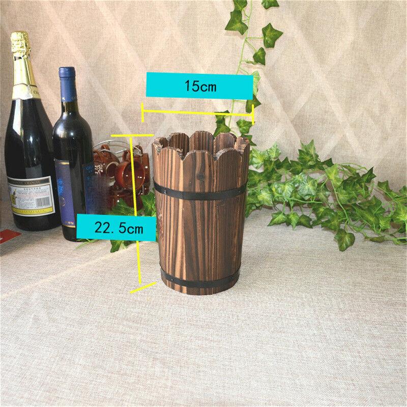 1pc Wooden Barrel Planter Flower Retro Pots Home Garden Yard Wedding Party Decor
