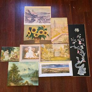 Lot of 9 Vintage Oil Painting, Art Prints, & Photos