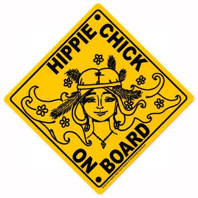 Hippie Chick On Board - Bumper Sticker / Decal  (Hippie Chick)