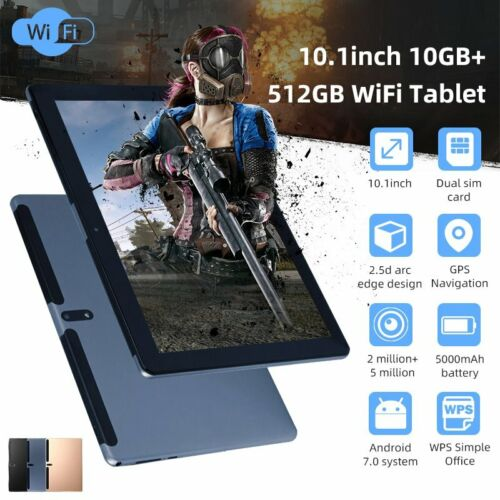 """Android WiFi 10.1"""" HD Tablet 10G + 512GB Pad 10 Core Dual Ga"""