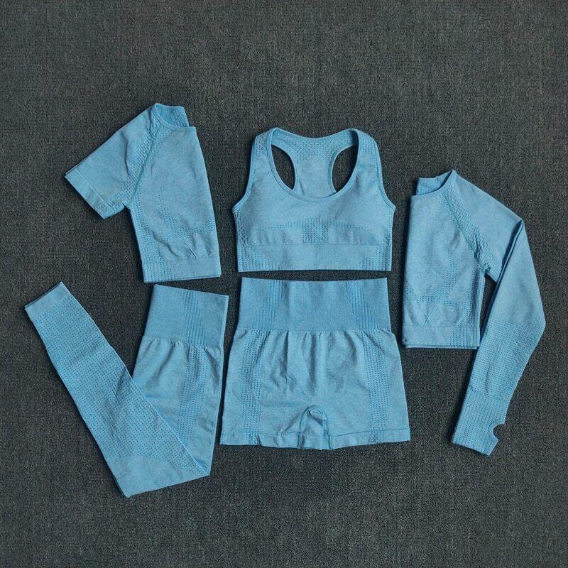 Women seamless Yoga Set Crop Top  Sports Bra  Legging Pants Gym Tracksuit 5Pcs