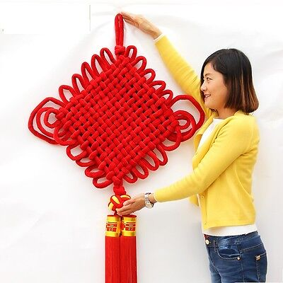 Chinese Lucky Knot Cross Stitch Tassel NewYear Decorations Big Red Flocking - Chinese Newyear