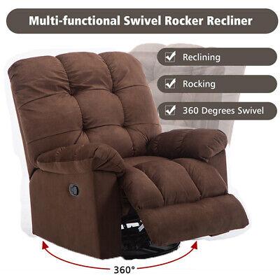 Oversize 360 Swivel Rocker Glider Recliner Chair Manual Overstuffed Padded Sofa