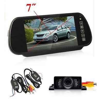 "7"" LCD Mirror Monitor +Wireless Car Rear View Reverse Night Vision Backup Camera"