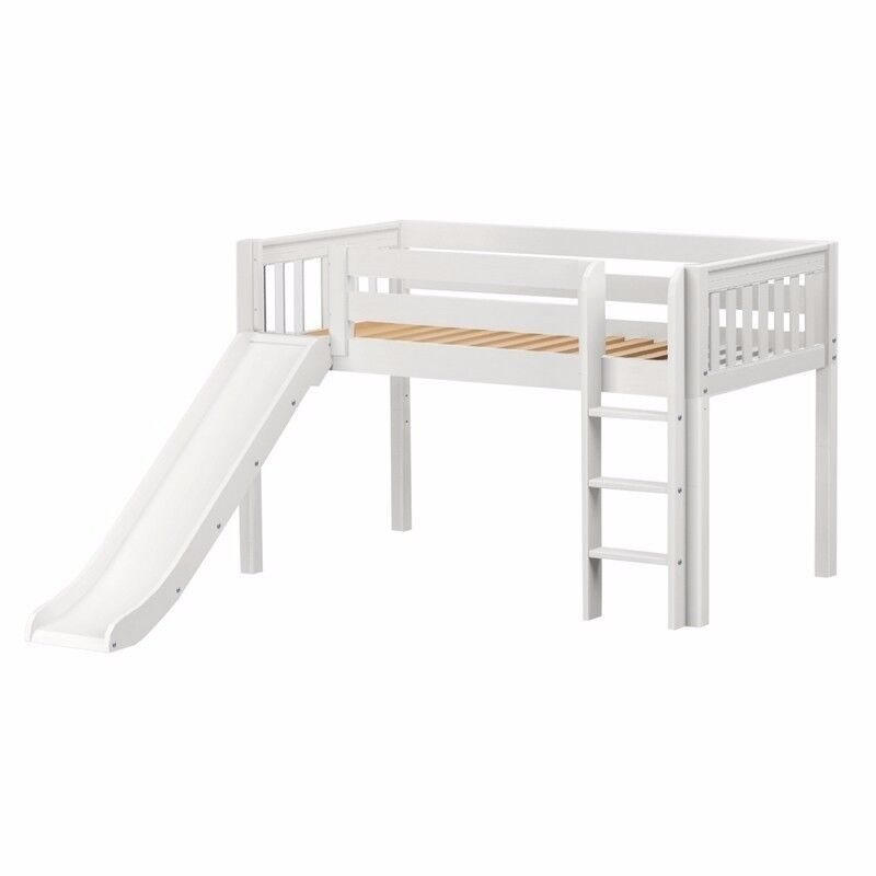 White Cabin Bed with slide.