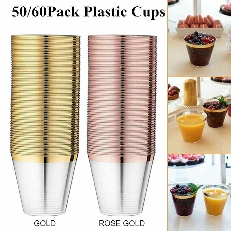 50/60pcs Heavy Duty Disposable 9-12oz Gold Rim Plastic Cups for Party Tableware