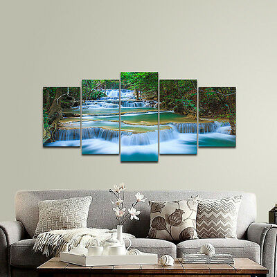 Canvas Art Print Photo Wall Home Decor Poster Landscape Woods Waterfall Framed