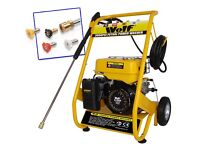 Wolf 200 BAR 3000psi 6.5HP Petrol Driven Power Pressuer Jet Washer Solid Frame