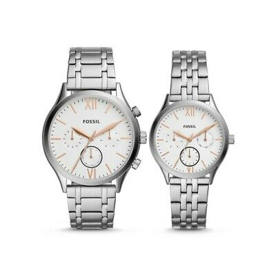 Fossil Couple Watch His & Her Silver Bracelet FENMORE BQ2468 BQ2468SET Her Couple Watches