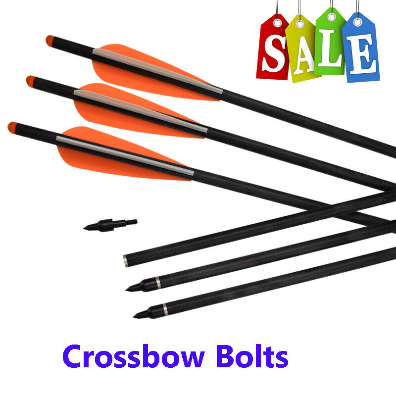 Crossbow Bolts Fiberglass Hunting Arrows with Replaceable 125 Grain Screw-In Poi