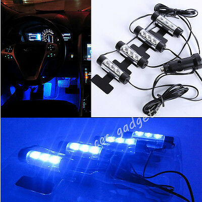 4 X3 LED Bright Blue Footwell Floor Car Light Neon Car Charger Interior Lamp 12V