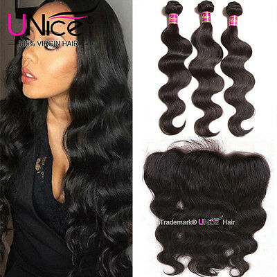 UNice 8A Indian Body Wave Human Hair 3 Bundles With Ear to Ear 13*4 Lace (Ear To Ear Lace Frontal With Bundles)