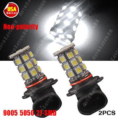 2X 9005 HB3 High Power 5050 DRL Fog Driving 27SMD LED Light Bulbs 6000K White US