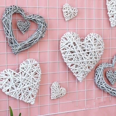 Wicker Heart Shabby Chic Wreath Wall Hanging Wedding Birthday Party Decor NP2