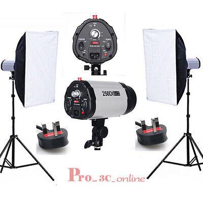 Flash Lighting Kit Set Photography Photo Studio Softbox Strobe head Stand UK