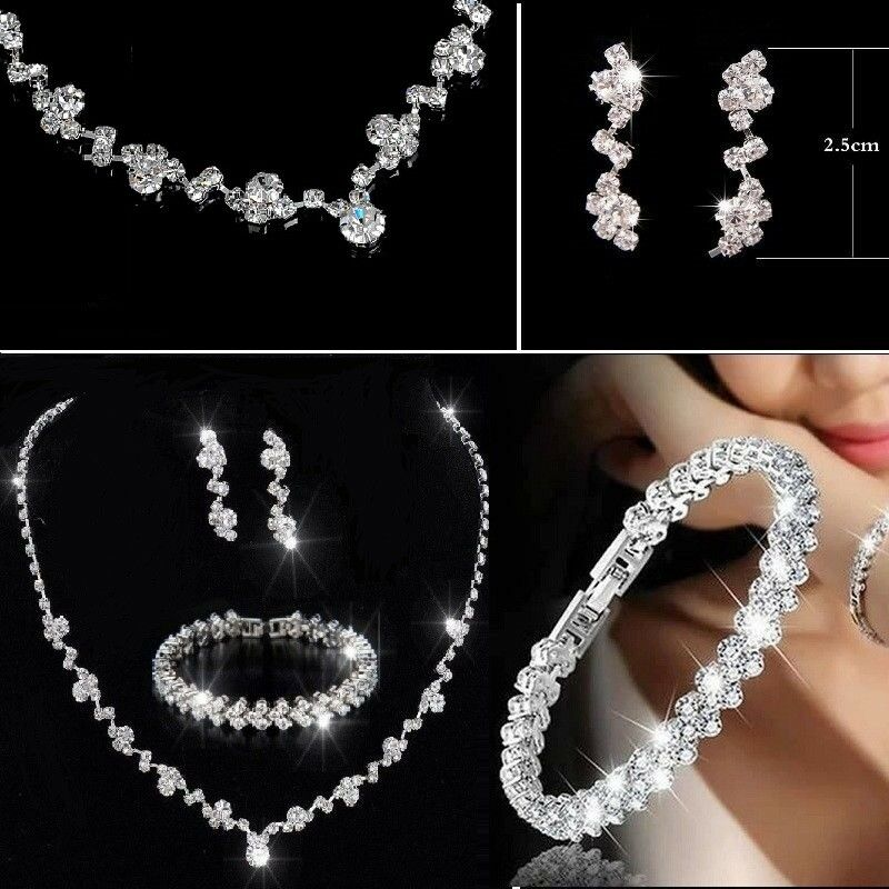 Jewellery - Bridesmaid Crystal Necklace Earrings Jewellery Bracelet Set Wedding Bridal Gift