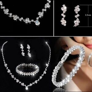 Bridesmaid Crystal Bracelet Necklace Earrings Set Wedding Bridal Jewellery gifts