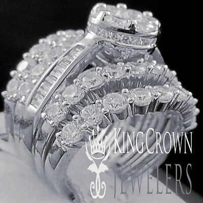 10K White Gold On Silver Simu Diamond Engagement Ladies Ring 3 Piece Bridal Set Diamond Ladies Bridal Set