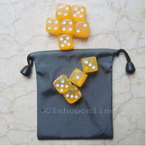 Lot-10-Yellow-6-Sided-D6-16mm-RPG-D-D-D20-Game-Dice