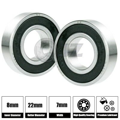 2x Ss 608-2rs Ball Bearing Roller Skate Board Long Board Inline Stainless Steel