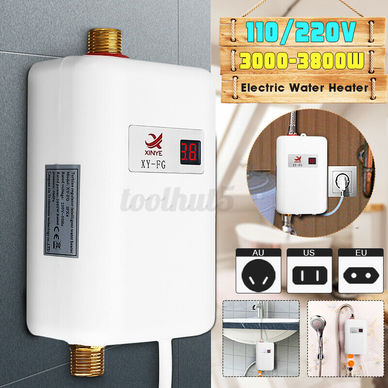 3000W Tankless Hot Water Heater Shower Electric Portable Instant Boiler Bathroom
