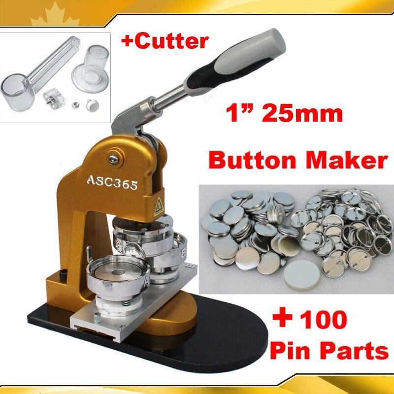 "Pro N1 1"" 25mm Badge Button Maker +Circle Cutter+100 Metal Pin Parts"