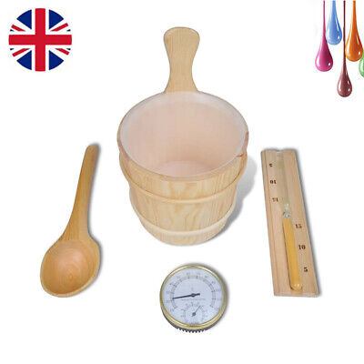 5Pcs Sauna Accessories Bucket Spoon Hourglass Hygrometer Thermometer Wooden