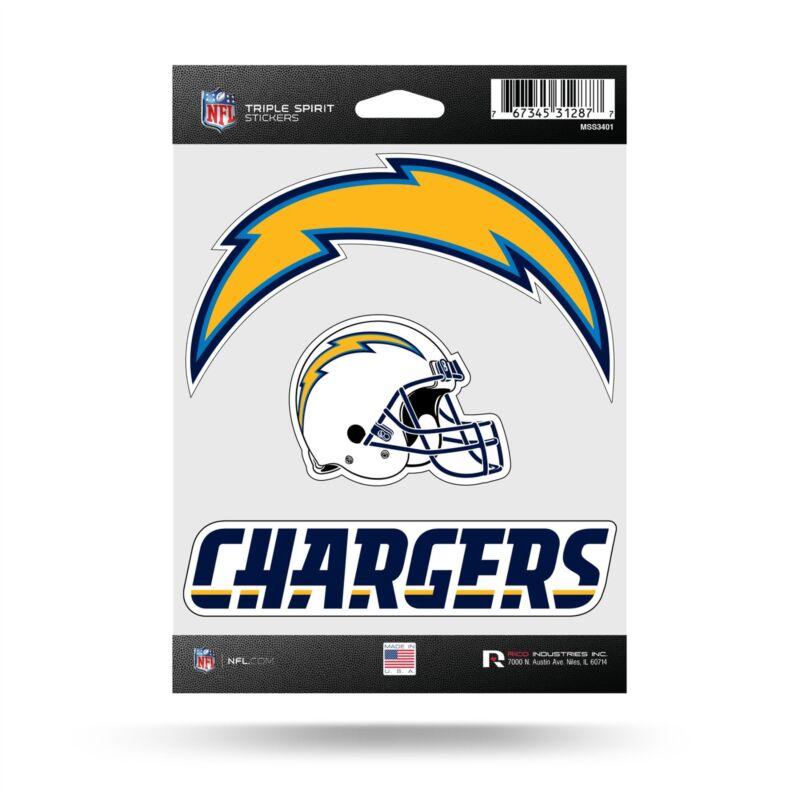 Los Angeles Chargers Stickers Die Cut Decals 3-piece Triple Spirit Sticker Sheet
