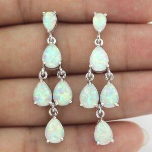 Beautiful White Fire Opal & 925 Sterling Silver Drop Dangle Earrings Teardrop