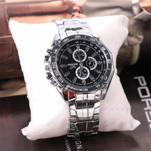 $2.99 - Men's Stainless Steel Quartz Analog Sport Watches Fashion Luxury Wristwatch #z