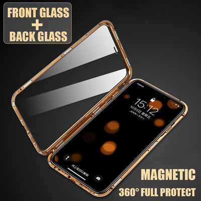 Front Back Double Sides Glass Metal Magnetic Case Fr iPhone 7 8 Plus X XS MAX XR