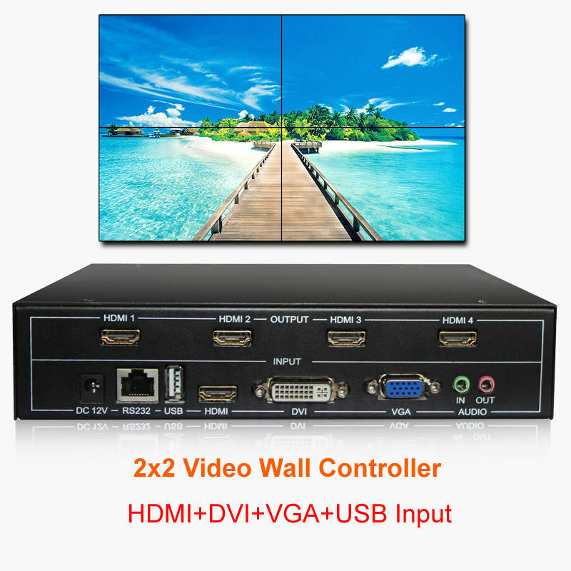TV Wall Controller 2x2 HDMI DVI VGA USB Video Wall Processor 4 Screens Splicing