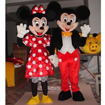 1Pair Mickey and Minnie Mouse Mascot Costume Cartoon Character Party Fancy Dress - Mickey Minnie Couple Costumes