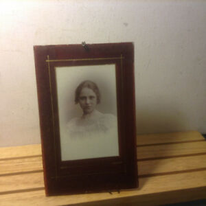 Antique Art Deco Reverse Painted Glass Photo Frame Red