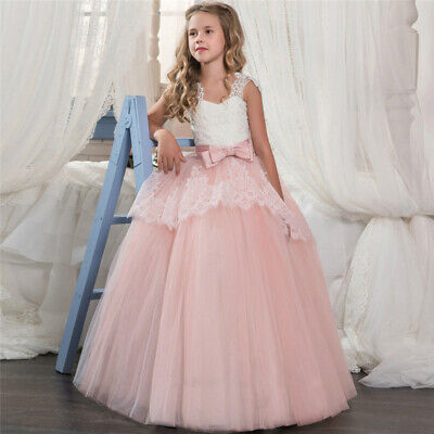Lace Flower Girl Princess Wedding Bridesmaid Long Tulle Party Dress Formal -