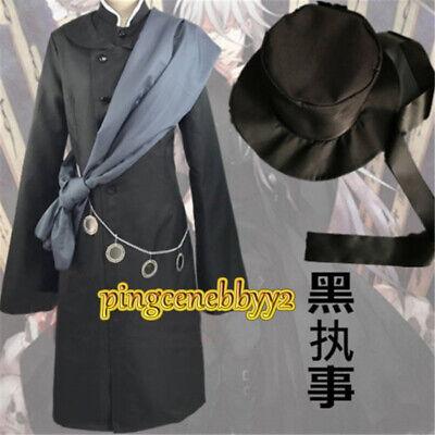 Black Butler Kuroshitsuji Undertaker Suit Outfit Cosplay Unisex Costume Hat Hot