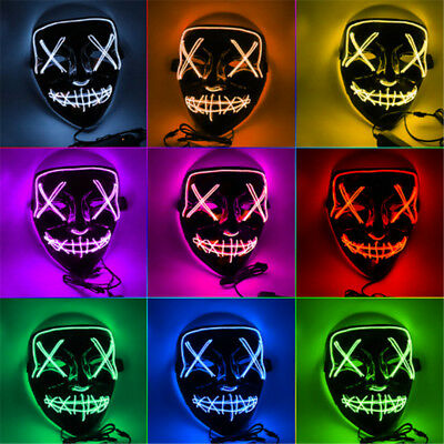 Cool Halloween Party Mask Fashion LED Smile Neon Full Face Light Luminous Mask - Smiling Halloween Mask