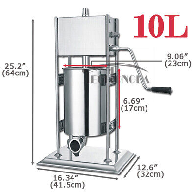 10l Manual Vertical Sausage Stuffer Stainless Steel Meat Filler Brand New