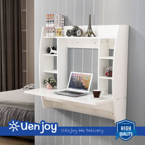 Computer Desk Work Table Floating Wall Mounted Home Office with Storage Shelves