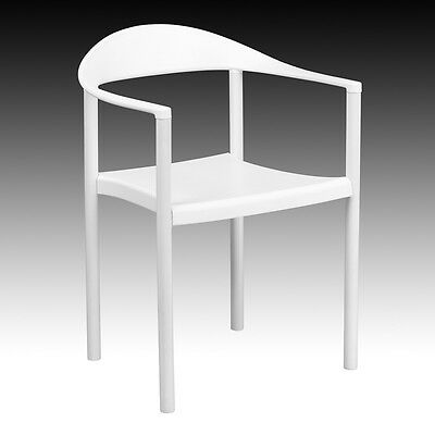 White Plastic Indoor Outdoor Restaurant Dining Stack Chair W 500 Lbs Capacity