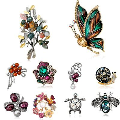 Flower Costume Jewelry - Women Costume Jewelry Rhinestone Pearl Flower Butterfly Animal Brooch Pin Gift