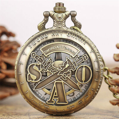 Mens Sword Art Online Bronze Retro Quartz Pocket Watch Pendant Chain Best