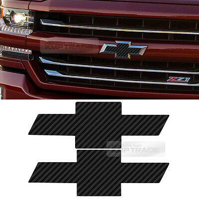 Front Rear Black Carbon Emblem Badge Decal Sticker For CHEVY 2014-2018 Silverado